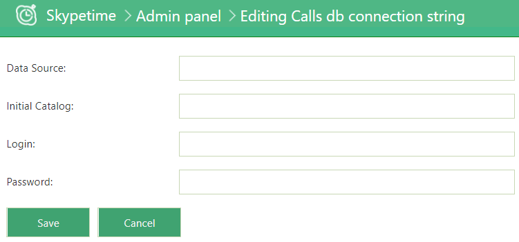 admin settings database