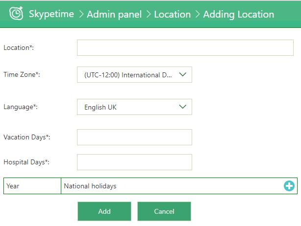 skypetime admin settings locations