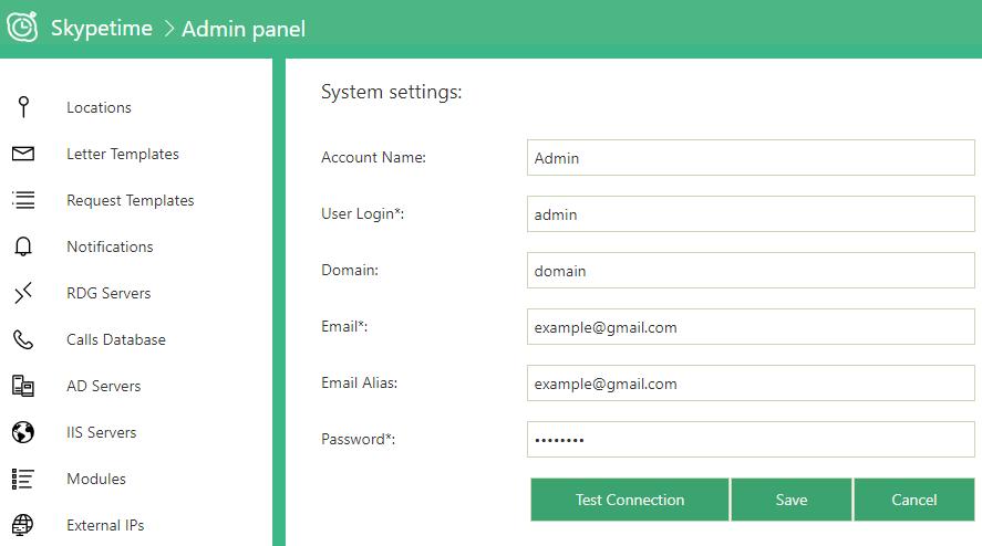 skypetime admin settings